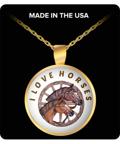 I Love Horses Two Horses In A Wagon Wheel Design Gold Plated Necklace