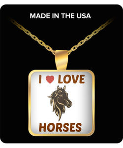 I Love Horses Square Gold Plated Necklace