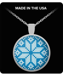 Snowflake Blue White Silver Plated Round Necklace