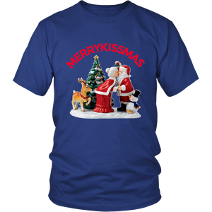 MerryKissmas Santa And Mrs. Claus Kissing Unisex T-Shirt blue