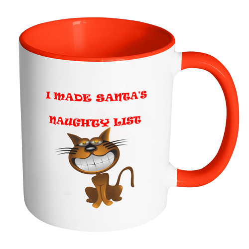 Cat I Made Santa's  Naughty List Accent Mug red