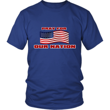Pray For Our Nation With Waving  USA Flag Unisex T-Shirt blue