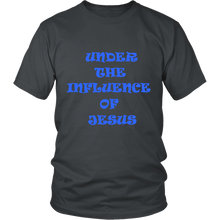 Under The Influence Of Jesus And Jesus Has My Back Front And Back Design Unisex Tee Grey