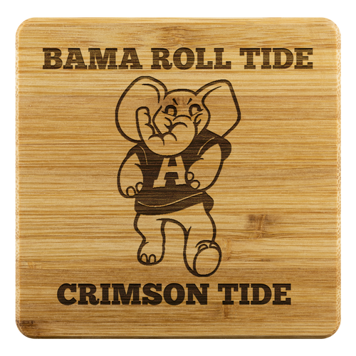 Bama Big Al Roll Tide Crimson Tide 4 PC Bamboo Coaster Set Alabama football fan gift
