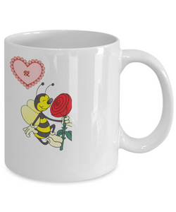Be Mine Valentine Bee Heart Valentine White 11 oz Mug