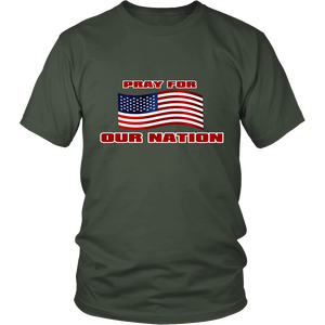 Pray For Our Nation With Waving  USA Flag Unisex T-Shirt Olive