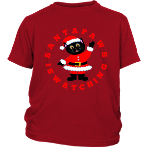 Santa Paws Is Watching Christmas Youth T-shirt red