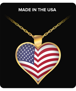 USA Flag Design Heat Shaped Necklace