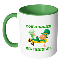 Don't Touch Me Nuggets White Green Accent 11 oz Coffee Mug
