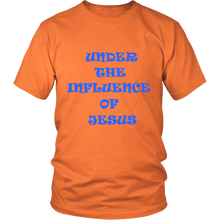 Under The Influence Of Jesus And Jesus Has My Back Front And Back Design Unisex Tee Orange