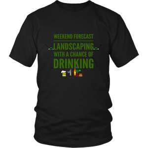 Weekend Lanscaping Forecast Unisex T-Shirt black