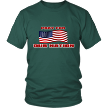Pray For Our Nation With Waving  USA Flag Unisex T-Shirt green