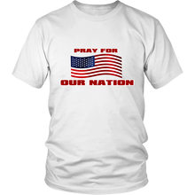 Pray For Our Nation With Waving  USA Flag Unisex T-Shirt white