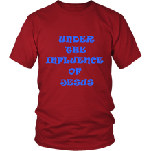Under The Influence Of Jesus And Jesus Has My Back Front And Back Design Unisex Tee Red