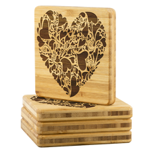 Swirly Fancy Heart  4 PC Set Bamboo Coasters Valentines day gift
