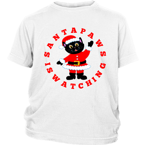Santa Paws Is Watching Christmas Youth T-shirt white
