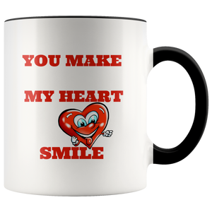 You Make My Heart Smile 11oz. ceramic white accent mug
