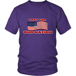 Pray For Our Nation With Waving  USA Flag Unisex T-Shirt purple