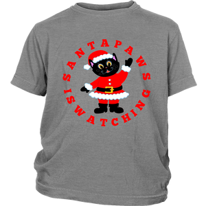 Santa Paws Is Watching Christmas Youth T-shirt Grey