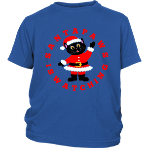 Santa Paws Is Watching Christmas Youth T-shirt blue