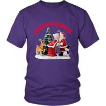 MerryKissmas Santa And Mrs. Claus Kissing Unisex T-Shirt purple