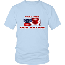 Pray For Our Nation With Waving  USA Flag Unisex T-Shirt light blue