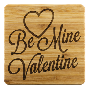 Be Mine Valentine 4 PC Set Bamboo Coasters Gift