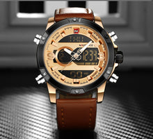 Montre à Quartz pour Homme NAVIFORCE Influence CUIR MARRON & OR