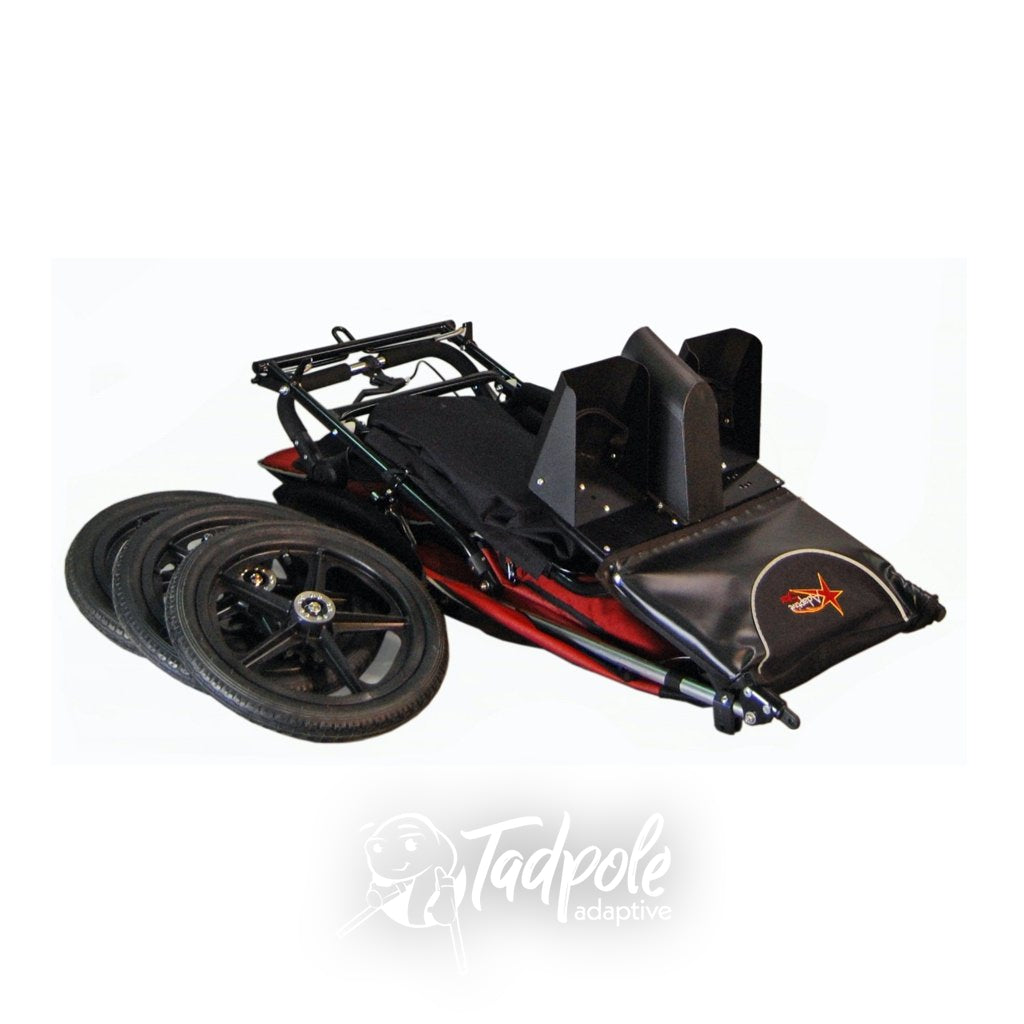 Adaptive Star Axiom Endeavour Indoor/Outdoor Mobility Jogger, folded with wheels off.