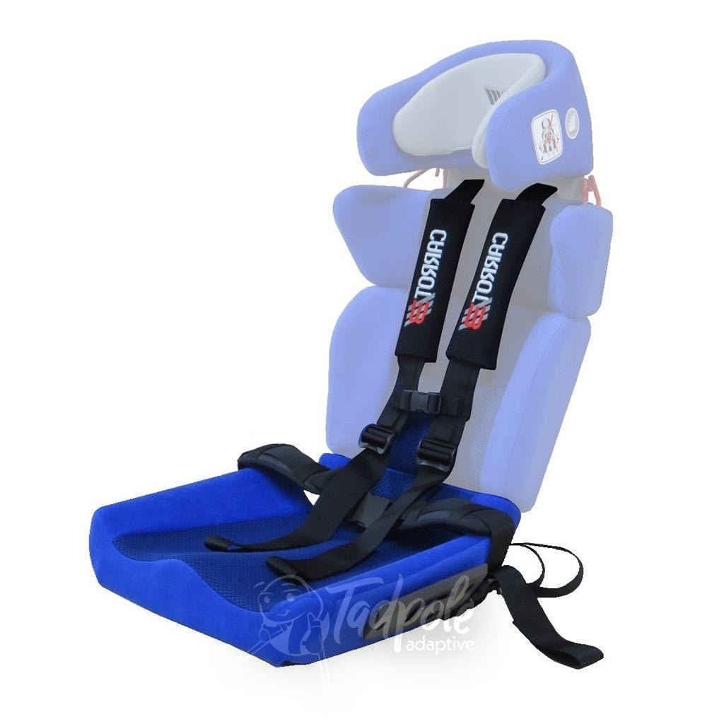 Convaid Carrot 3 Booster Seat, in blue, shown with 5 point harness.