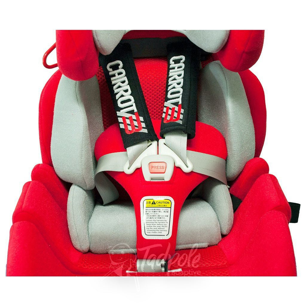 Closeup view of positioning straps in the Convaid Carrot 3 Special Needs Carseat.