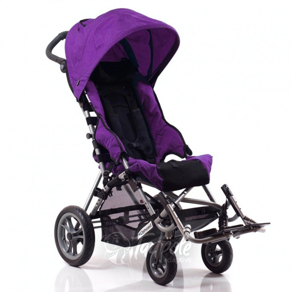 Convaid Cruiser Special Needs Stroller, shown with canopy, in Sassy Purple.