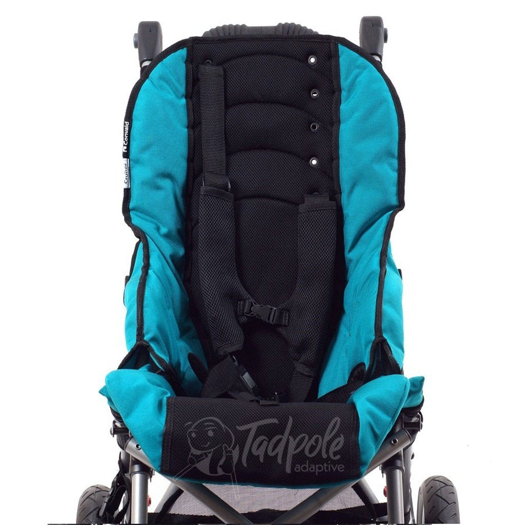 Convaid Cruiser Special Needs Stroller, cordura upholstery and chest harness.