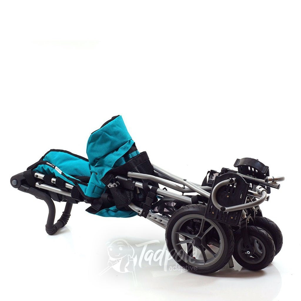 Convaid Cruiser Special Needs Stroller, in Aqua Blue, folded compactly.