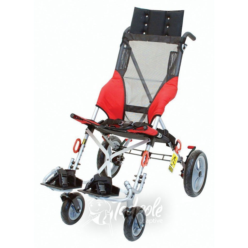 Convaid Metro Stroller, in red, transit model with headrest extension.