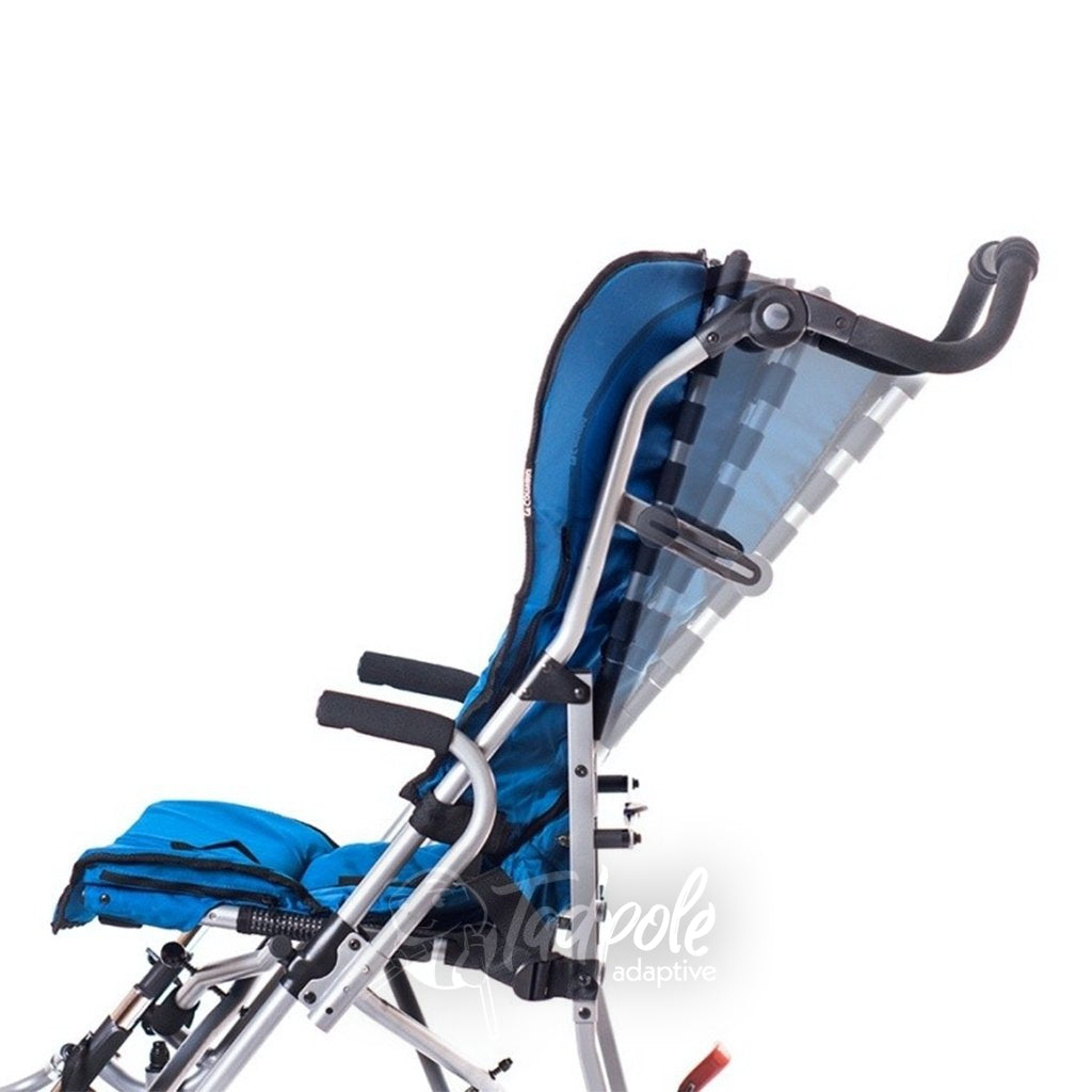 Side view of Convaid Vivo, showing 95º-120º of adjustable recline.