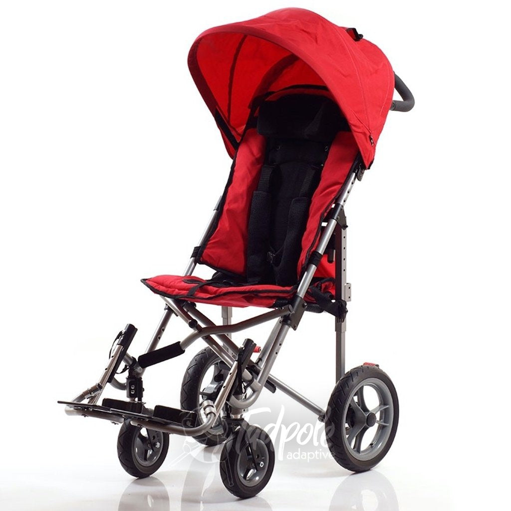 Convaid EZ Rider Stroller shown in Cherry Red with Canopy.