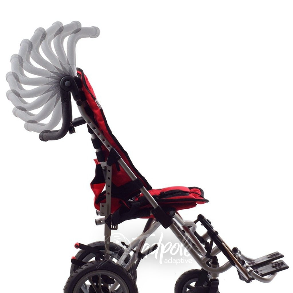 Convaid EZ Rider Stroller's push bar is angle adjustable.
