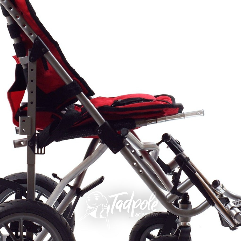 Seat depth is growable on the Convaid EZ Rider Stroller.
