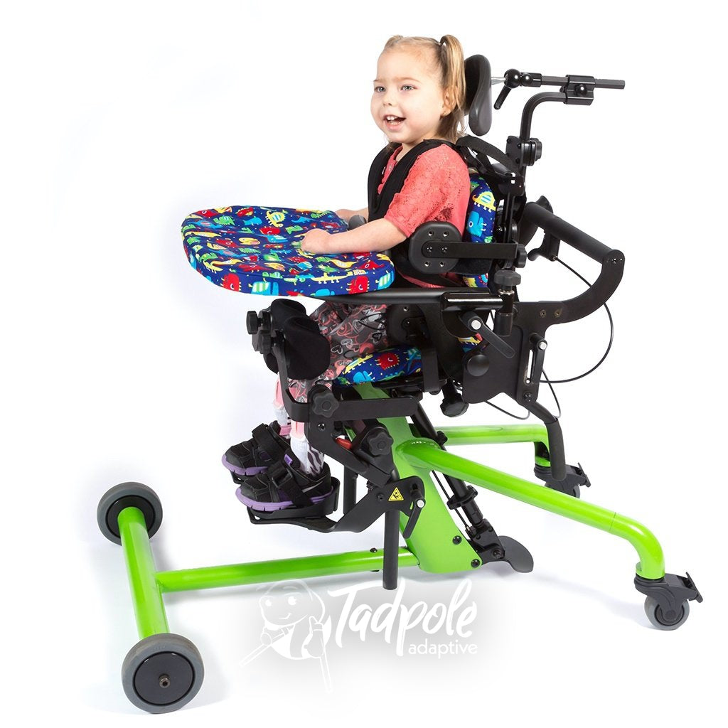 EasyStand Bantam Extra Small Little girl smiling with new tray covers.