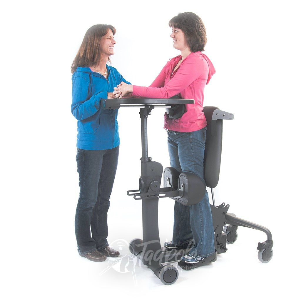 EasyStand Evolv E3 Large, Bonnie standing with therapist