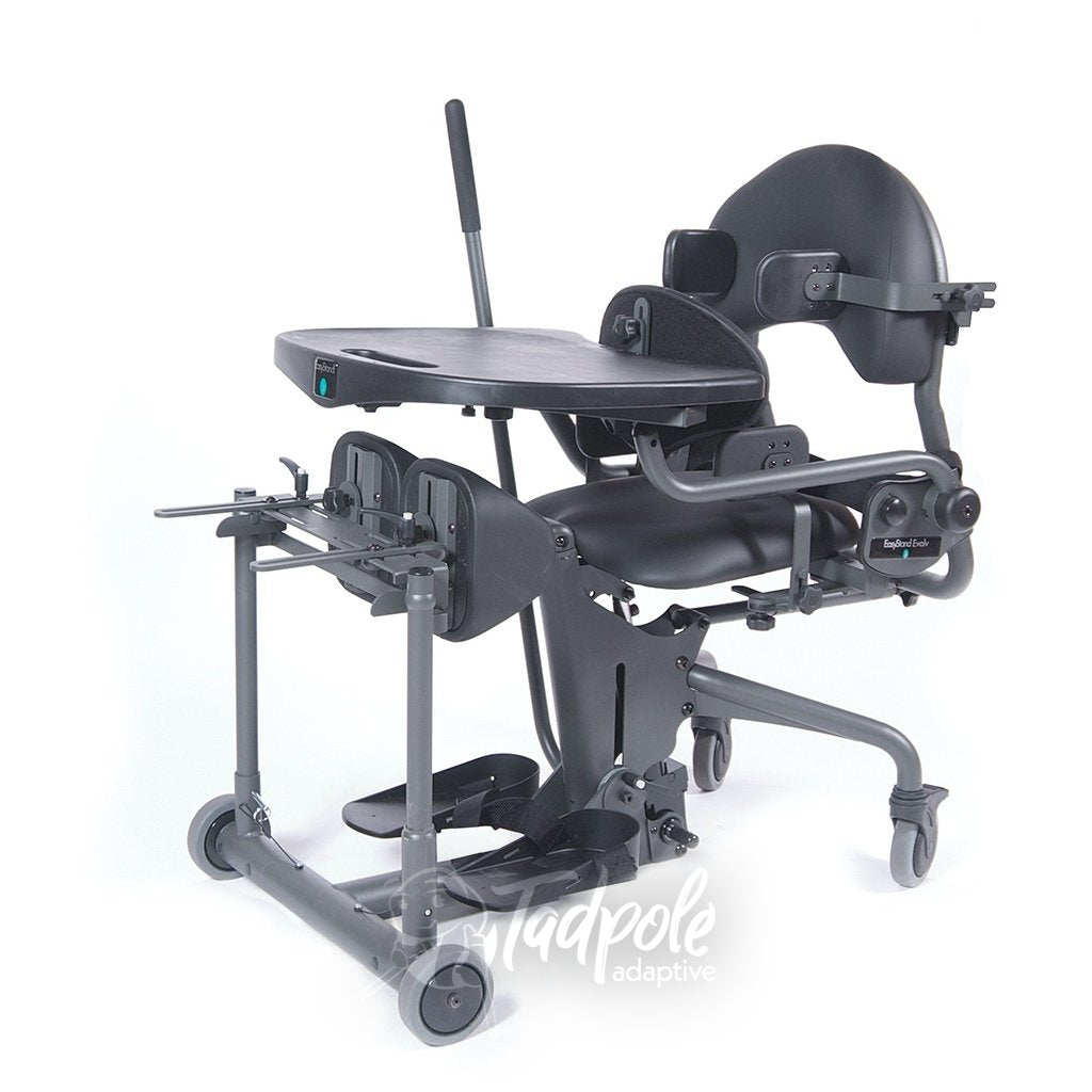 EasyStand Evolv E3 Medium, seated position with Shadow Tray.