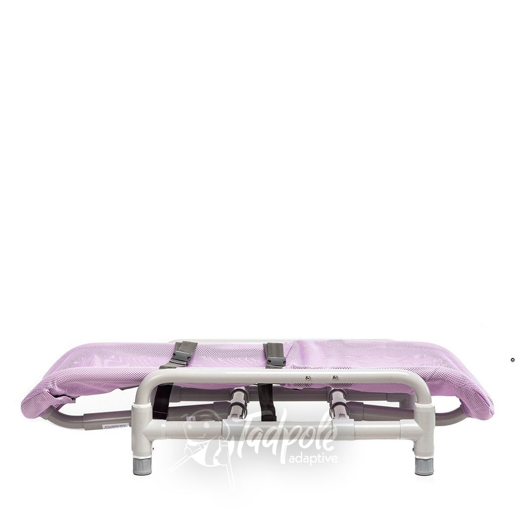 Contour™ Supreme Bath Chair in Lionfish lavender mesh fabric, reclined position.