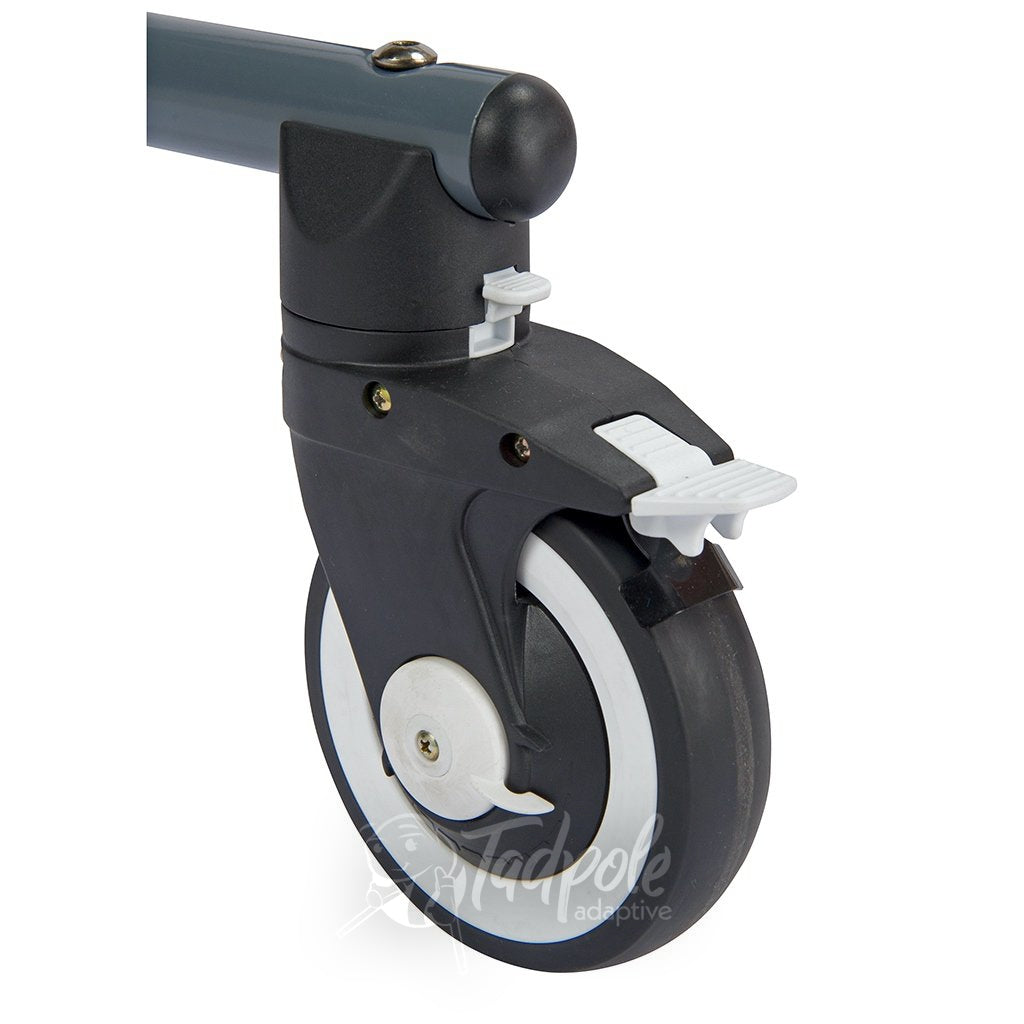 Inspired by Drive Moxie GT Gait Trainer Specialized casters with locks and forward/reverse function.