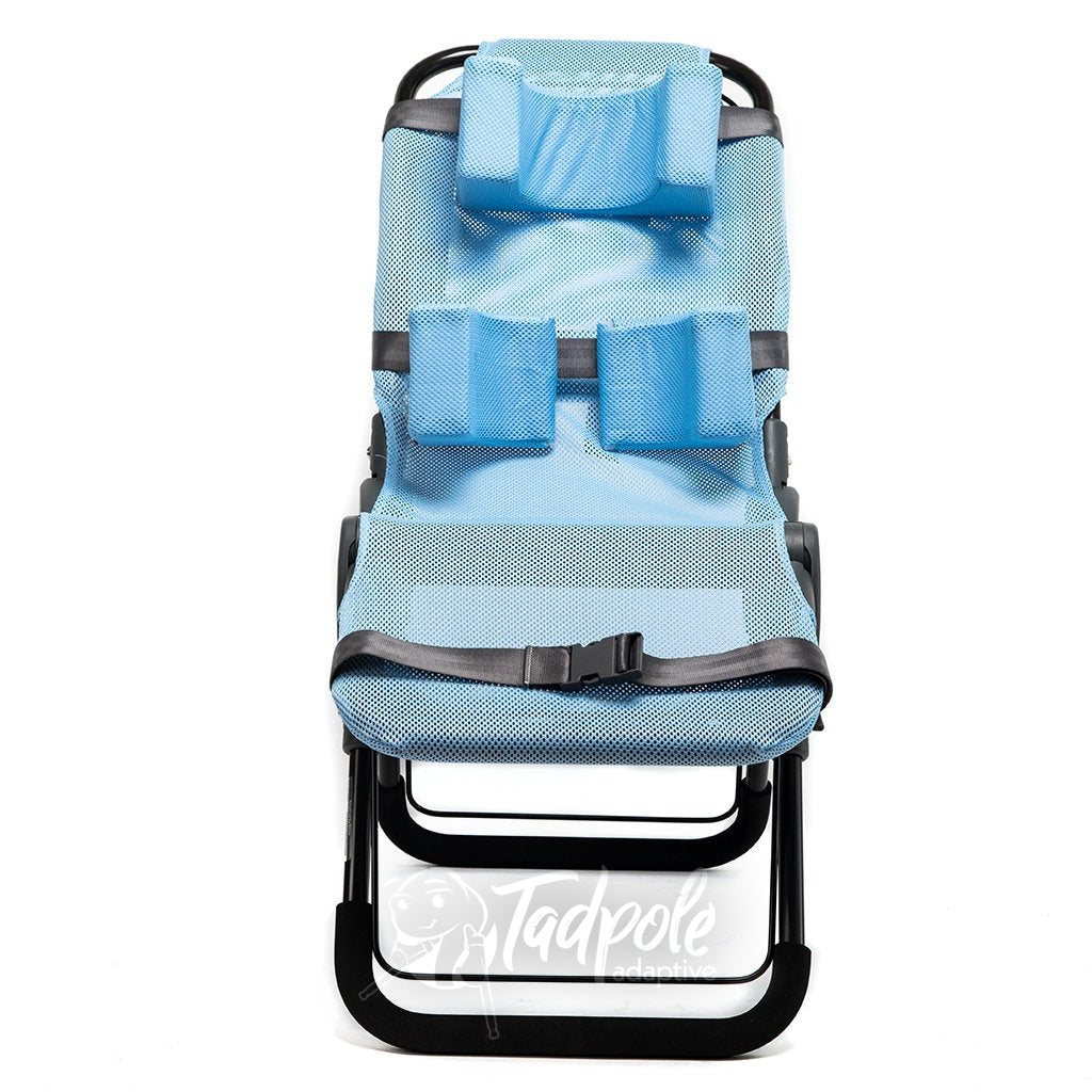 Inspired by Drive Ultima™ Bath Chair in blue, with positioning accessories.