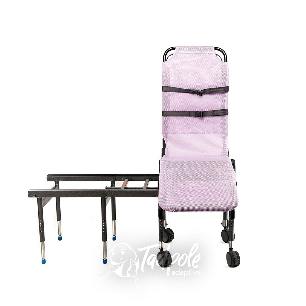 Ultima Bath Transfer with compact transfer base in pink.