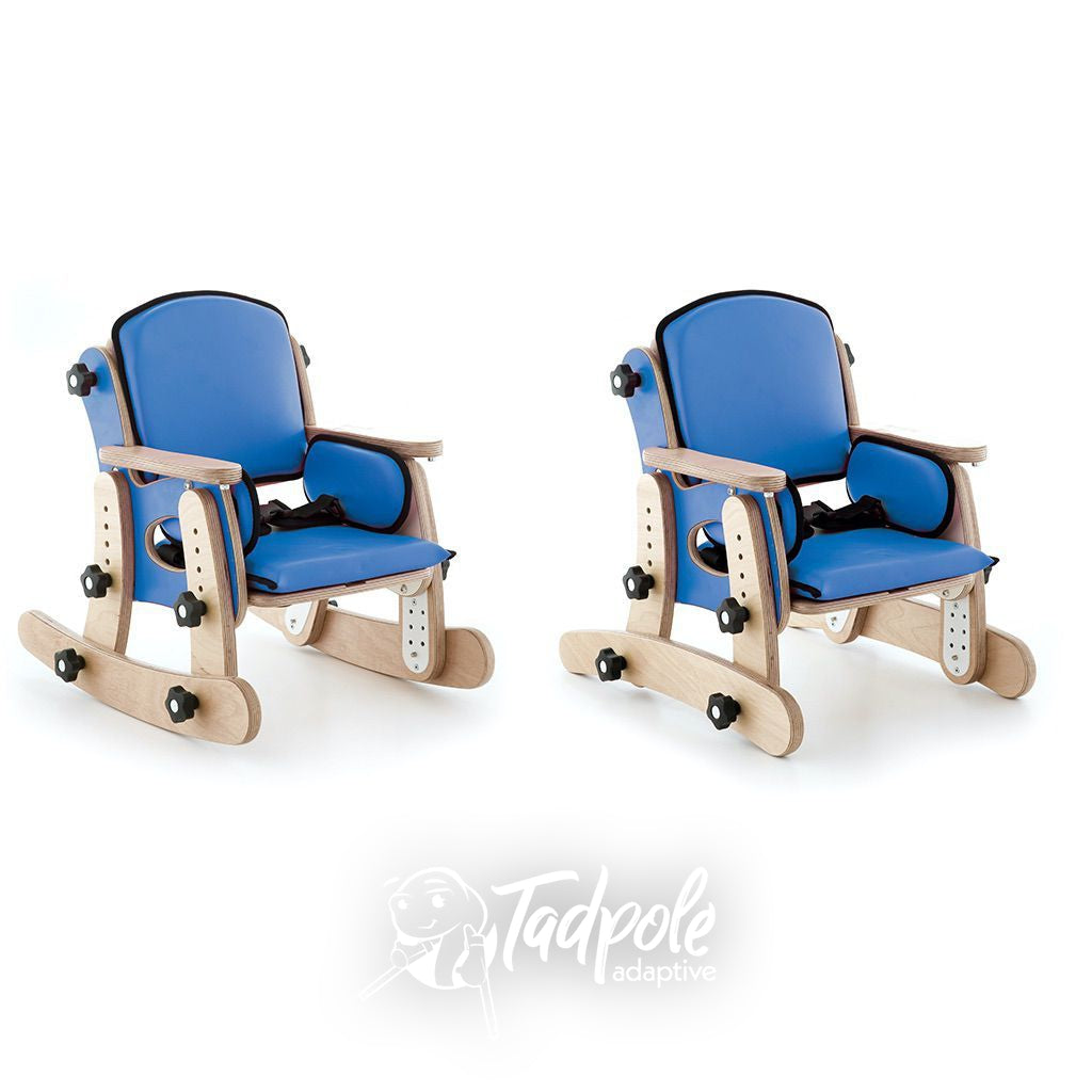 Leckey PAL Classroom Seat in Blue with Rocker Stabilizer Base option.