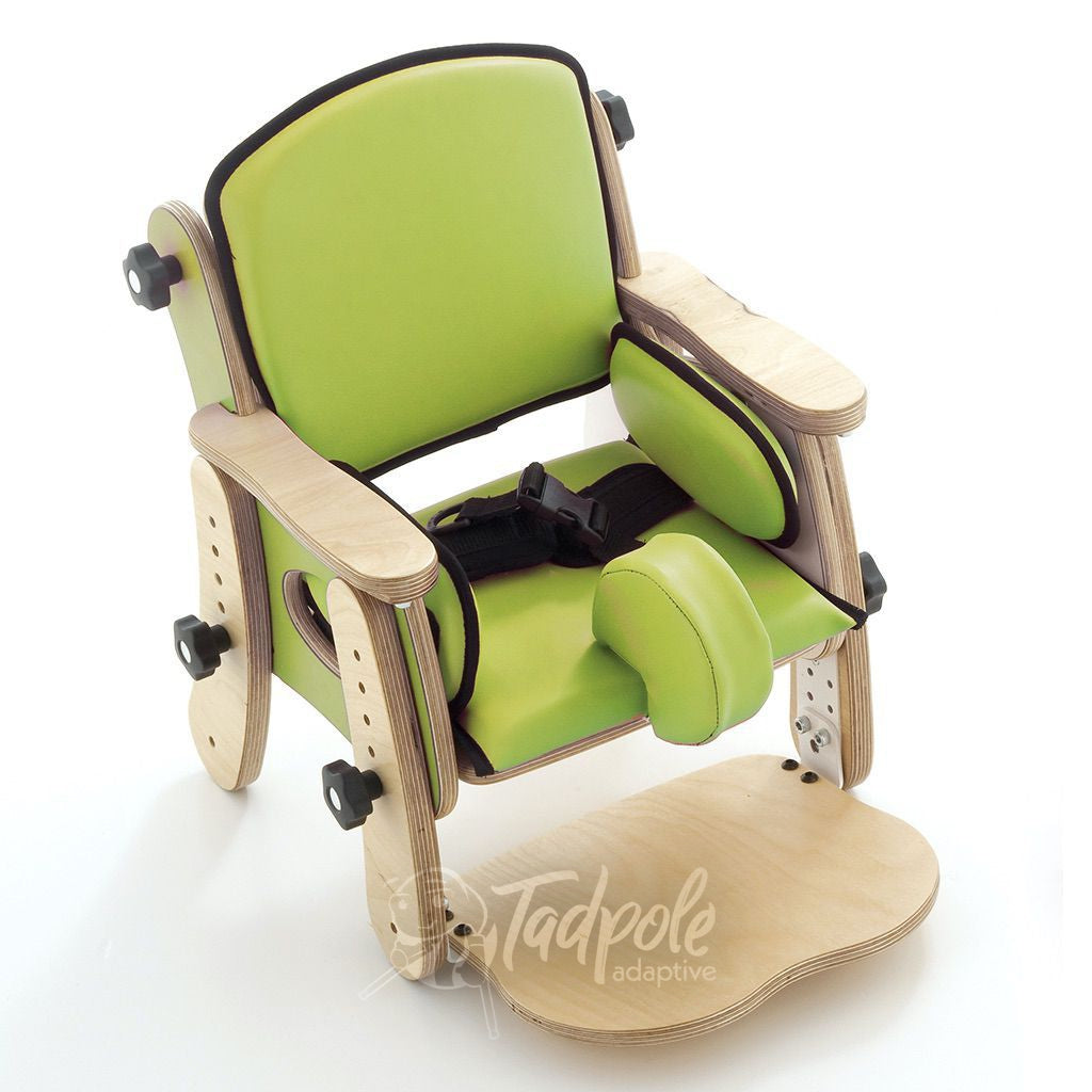 Leckey PAL Classroom Seat, in green, with Pommel and Belt options.