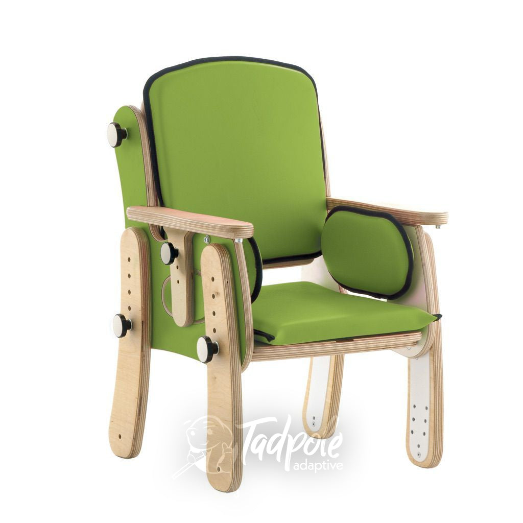 Leckey PAL Classroom Seat show as basic model, in Green.