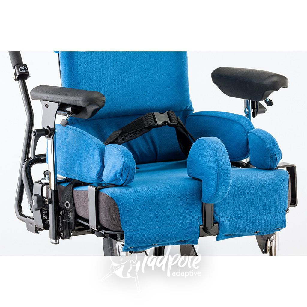 Closeup view of the seating area of the Leckey Everyday Activity Seat, with pommel, belts, armrests and more.